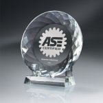 Round Crystal Plate with Crystal Stand Achievement Awards